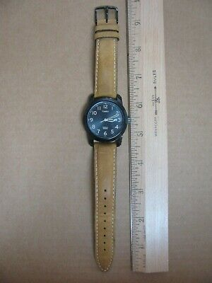 Timex T2P133, Men's Easy Reader Brown Leather Watch Works! • 14.73£