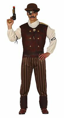 Mens Steampunk Costume Victorian Time Traveller Halloween Fancy Dress Outfit • 22.99£