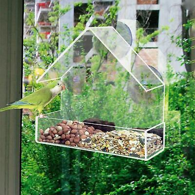 Hanging Window Wild Bird Feeder Feeding Table Clear Perspex With Suction Cup • 7.49£