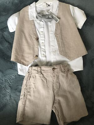 Baby Boys Linen Short Suit Cake Smash Outfit 12-18 Months • 11£