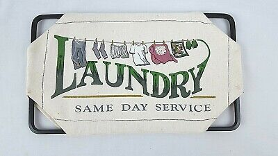 SIGN PLAQUE Wall Hanging LAUNDRY SAME DAY SERVICE Black Metal And Canvas   • 3.08£