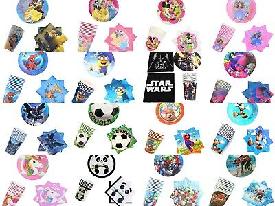 30Pcs Cartoon Theme Birthday Party Supplies Tableware Set Plates Cups Napkins UK • 12.99£