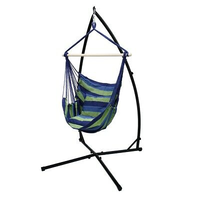 Hamock Hanging Chair + Stand Camping Garden Blue/green 120cm Hanging Chair Frame • 84.95£