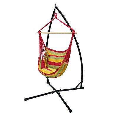 Hamock Hanging Chair + Stand Camping Garden 120cm Chair Frame Red/yellow/orange • 84.95£