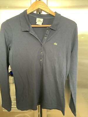 Womens LACOSTE Long Sleeve Navy Blue Sleeve Polo T Shirt. Size 44 / L • 12.99£