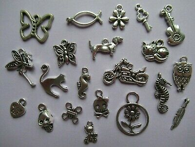Assorted Packs Of Silver Metal Charms For Craft & Jewellery Making / 60+ Designs • 2.25£