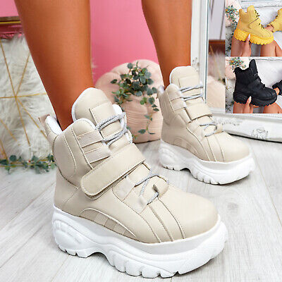 Womens Ladies Ankle Boots Platform Flatform Chunky Sole Party Women Shoes Size • 16.99£
