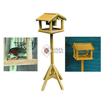 New Wooden Wild Bird Table With Built In Feeder Free Standing Feeding Station • 18.95£
