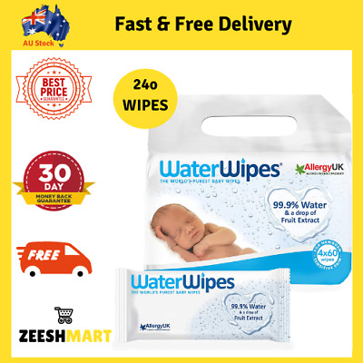 AU29.30 • Buy WaterWipes Fragrance Free Baby Wipes Value Pack 4x60 Wipes (Total 240)