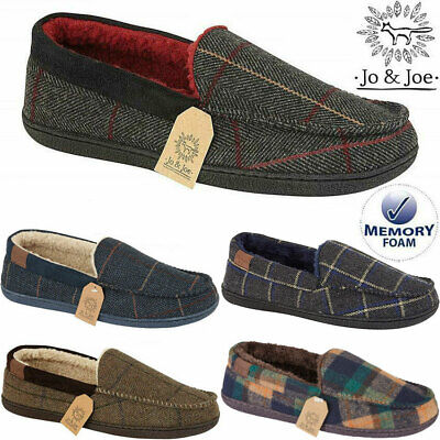 Mens Slippers Moccasins Sheepskin Fur Peaky Blinders Memory Foam Tweed Shoes • 15.95£