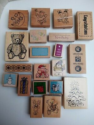 £14.99 • Buy Wooden Stamps Bundle Lot Christmas Baby X 20