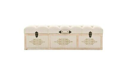 Vintage Storage Bench French Bedroom Entryway Bench Cream Boho Trunk Accent NEW • 259.99£