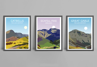 The Lake District Fells Set Of 3 Art Prints - Scafell Pike, Catbells,Great Gable • 19.99£