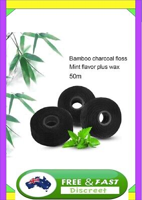 AU9.95 • Buy Dental Floss Teeth Whitening Oral 50M Bamboo Charcoal Flosser Spool Tooth A1 Aus