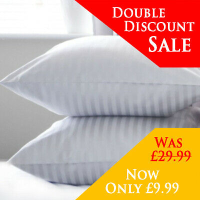 Hotel Quality Egyptian Stripe Pillows Luxury Soft Hollowfibre Filled -  2 Pack • 9.96£