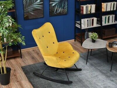 Brand New Yellow Modern Rocking Chair Velvet Nursery • 265£