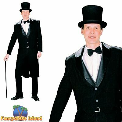 OLD ENGLAND VICTORIAN BLACK TAIL COAT - One Size - Mens Fancy Dress Costume • 23.99£