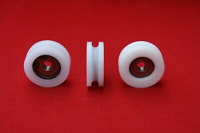 £7 • Buy 30mm Nylon Pulley Wheel With Ball Bearings Various Groove Size Precisely Turned.