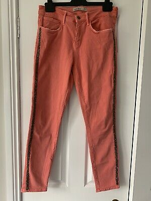 Zara Coral Beaded Sequin Jeans Size 12 • 5£