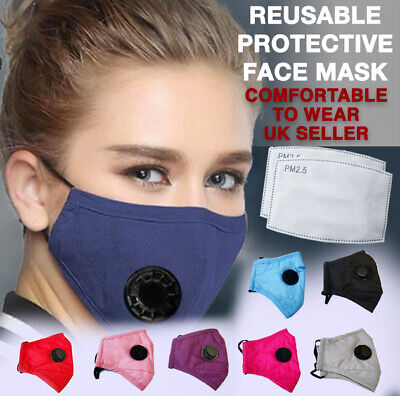 High Quality, Washable, Reusable Face Mask With Air Valve + Pm2.5 Filter • 3.95£