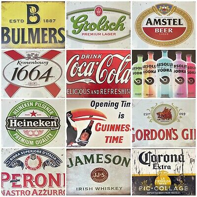 VARIOUS RETRO METAL REPLICA BEER DRINKS WALL SIGNS BAR MAN CAVE HOME 20x30cm • 4.99£