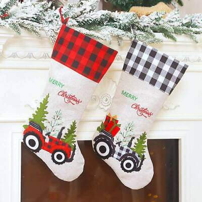 AU47.99 • Buy Large Hessian Burlap Christmas Stocking - Xmas Trees & Tractors Gift Bag For Kid