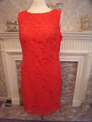 Myleene Klass  Ladies Orange Lace Dress  Uk Size  14..comes With A Side Zip... • 16£