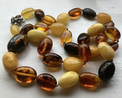 Amber Bead Necklace Butterscotch Egg Yolk Sterling Clasp • 69£