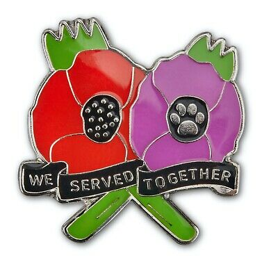 £4.99 • Buy Purple And Red Poppy NEW Enamel Badge We Served Together Animals In War