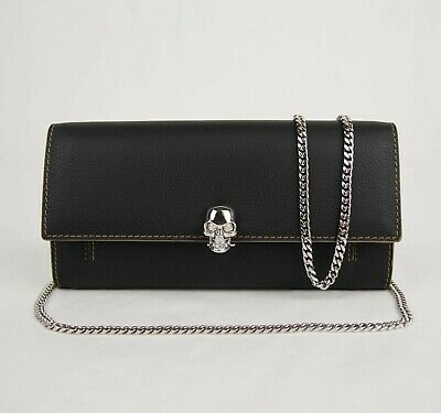 AU490.53 • Buy $1090 Alexander McQueen Black Leather Chain Wallet Bag Skull Closure 554196 1000