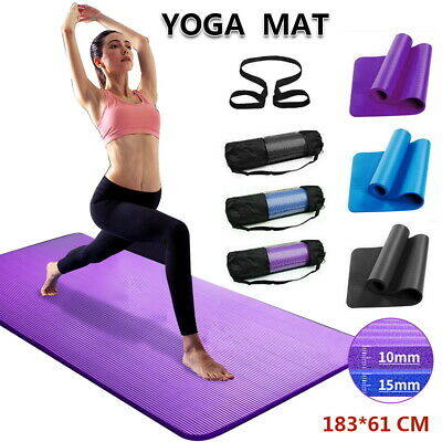 AU23.95 • Buy Thick Yoga Mat Pad 6/10/15/20MM Nonslip Exercise Fitness Pilate Gym Durable AU