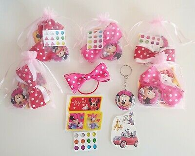 Girls Pre Filled Minnie Mouse Party Gift Bags Birthday Keyring Stickers Bows  • 2.29£