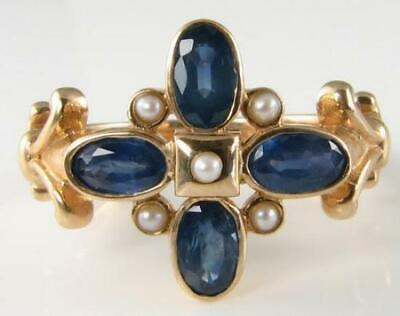 £259 • Buy Divine 9k Gold Art Deco Ins Blue Sapphire & Pearl Ring  Free Resize