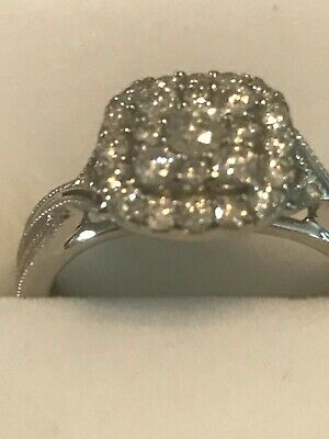 H Samuel Perfect Fit 9ct White Gold Diamond 0.45.5 Carat Ring Size M/n Bnwot • 320£