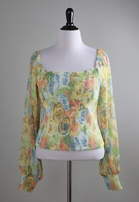 $ CDN44.56 • Buy ANTHROPOLOGIE NWT $78 Smocked Mesh Stretch Floral Rouen Top Size Large