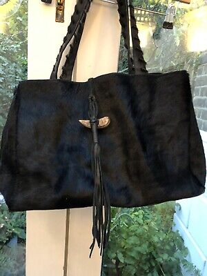 Hobbs Black Leather Ponyskin Shoulder Bag • 50£