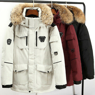 £46.28 • Buy Mens Duck Down Quilted Jacket Faux Fur Hooded Padded Coat Parka Overcoat Classic