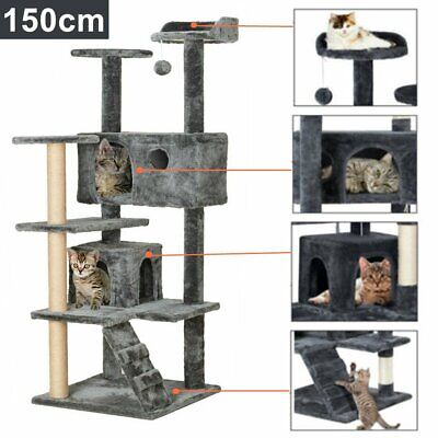 59  Cat Tree Tower Condo Furniture Scratching Scratch Pet Kitty Play House • 45.99£