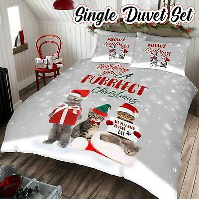 Wishing You A Purrfect Christmas Cat Single Bedding Duvet Pillowcase Cover Set  • 14.75£