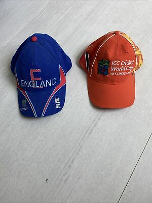 2x CRICKET Hat ICC 2007 World Cup West Indies And England Adjustable Ball Cap • 25.34£