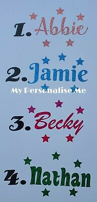 3 GLITTER NAMES To Fit 8 Cm BAUBLE WITH STARS CHRISTMAS VINYL STICKERS DECAL • 1.10£