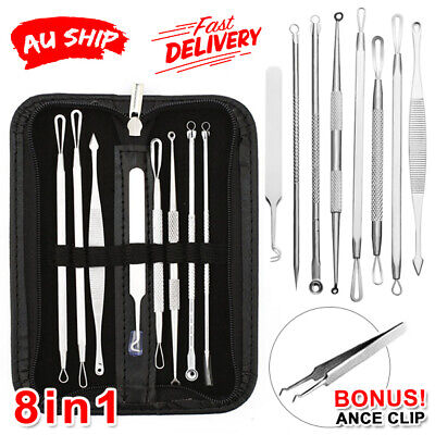 AU8.95 • Buy 8Pc Blackhead Remover Extractor Tool Pimple Blemish Comedone Kit Stainless Steel