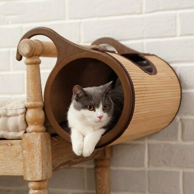 Natural Bamboo Radiator Cat Bed Home Tent Tunnel Toys Hanging Wall Cat House  • 88.60£