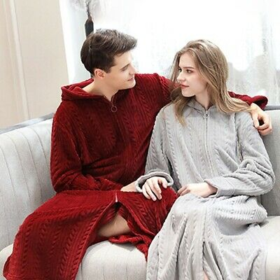 Women Men Front Zipper Bathrobe Hooded Robe Dressing Gown Long Fleece Homewear • 22.85£
