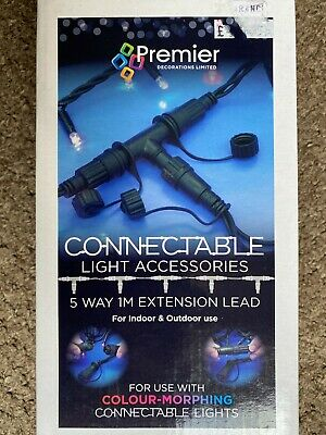 Premier Connectable Light Accessories Extension Plug Power Cable Christmas 5 Way • 9.95£