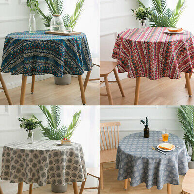 AU22.87 • Buy Print Table Cloth Cover Tablecloth Round Cotton Linen Dining Party Home Decor