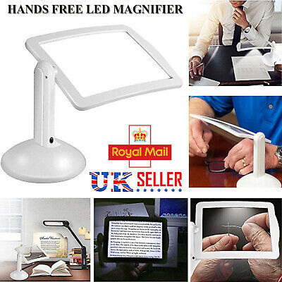 LED Magnifying Glass Stand With Light Lamp Hands Free Magnifier Foldable Clamp • 8.99£
