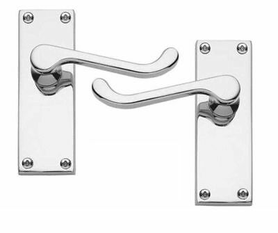 3 X Sets Victorian Scroll Lever Latch Door Handles On Back Plate Polished Chrome • 21.99£