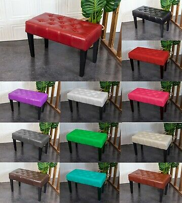 PU Leather Dressing Bench Stool Chair Vanity Stool With Rustic Look Legs • 29.95£