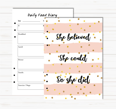 A5 Inserts Motivational Diet Food Diary Weight Watchers Slimming World Planner  • 10£
